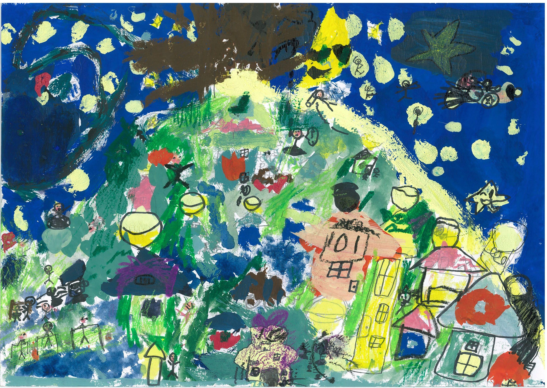 神奈川新聞社賞 横浜市立常盤台小学校1年 紀井慈 「魔法のメープルが流れる街(山手)」