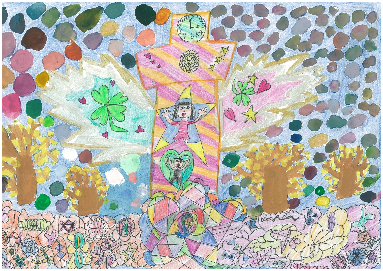 横浜市長賞 横浜市立矢部小学校3年 石川夢月 「宇宙(みらい)にはばたくマリンタワー〜いちょう並木の山下公園とともに〜」