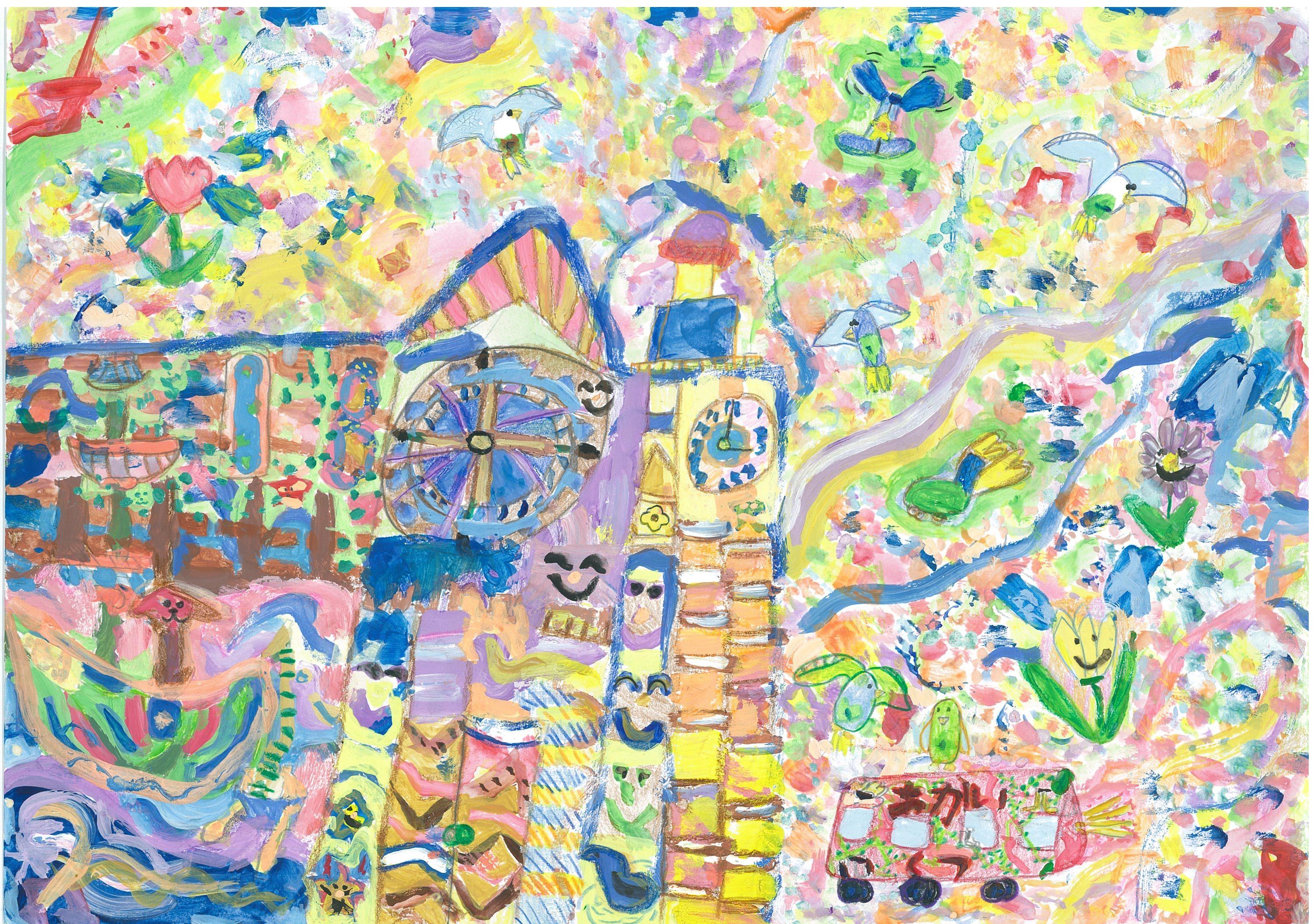 横浜市教育委員会賞 横浜市立平戸小学校2年 小山愛加 「お花畑につつまれたジャックの塔」