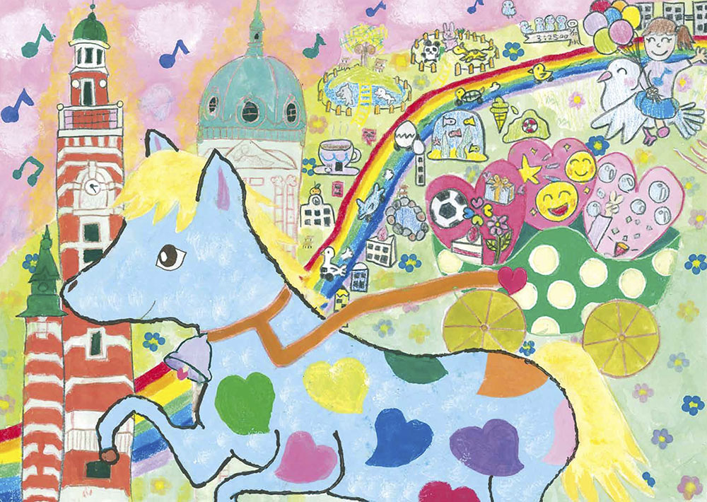 関内賞 横浜市立瀬谷第二小学校5年 綿 美羽「レインボードリーム みんなの夢をのせて~馬車道~」