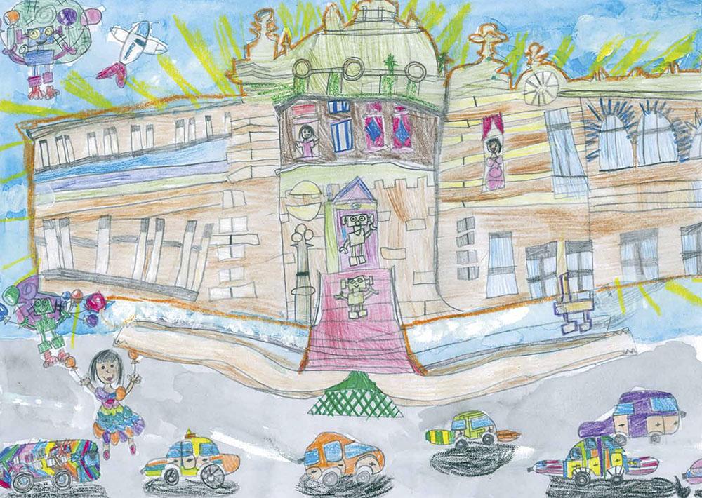 馬車道賞 横浜市立寺尾小学校1年 中村 環那「空飛ぶ馬車道」