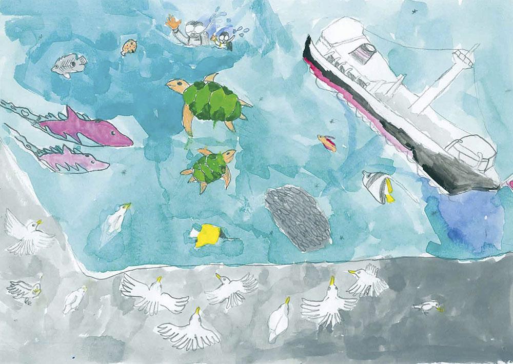 山下公園通り賞 横浜市立三ツ境小学校2年 亀島 亜美「山下公園は海の生きものの天国」
