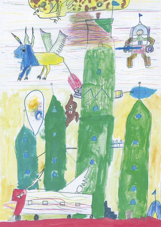 神奈川新聞社賞 横浜市立矢部小学校2年 金森 壮輝「未来のふしぎな関内へようこそ」