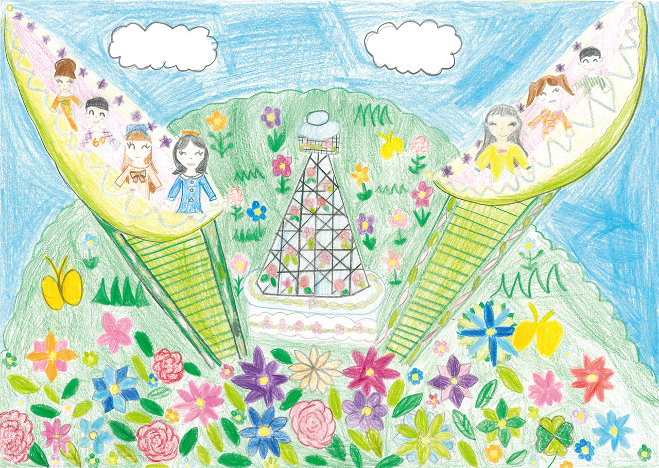 「お花畑のまん中はマリンタワー」