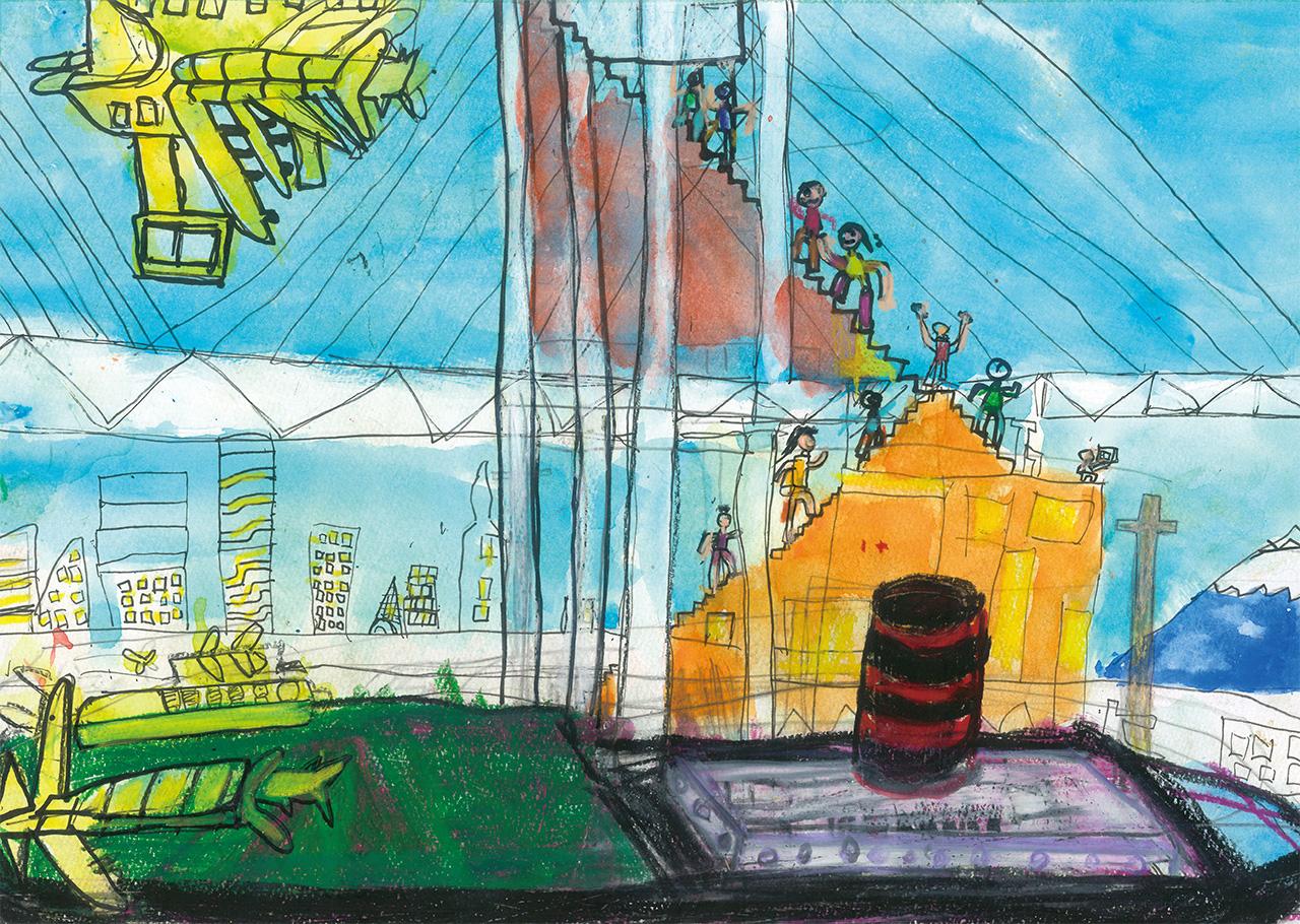 「氷川丸から飛行機や階段登ってベイブリッジを見に行こう」