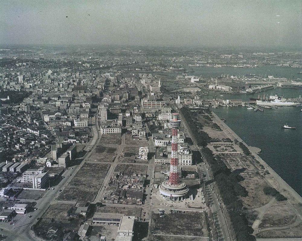 開業後のマリンタワー周辺(横浜市史資料室所蔵・横浜市各課文書)