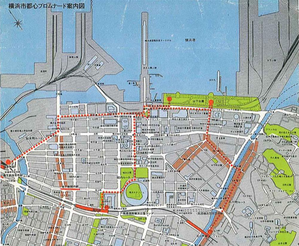 都心プロムナードマップ(横浜市都市整備局都市デザイン室所蔵)